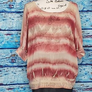 Maurices Sunset Colored Blouse Size LG